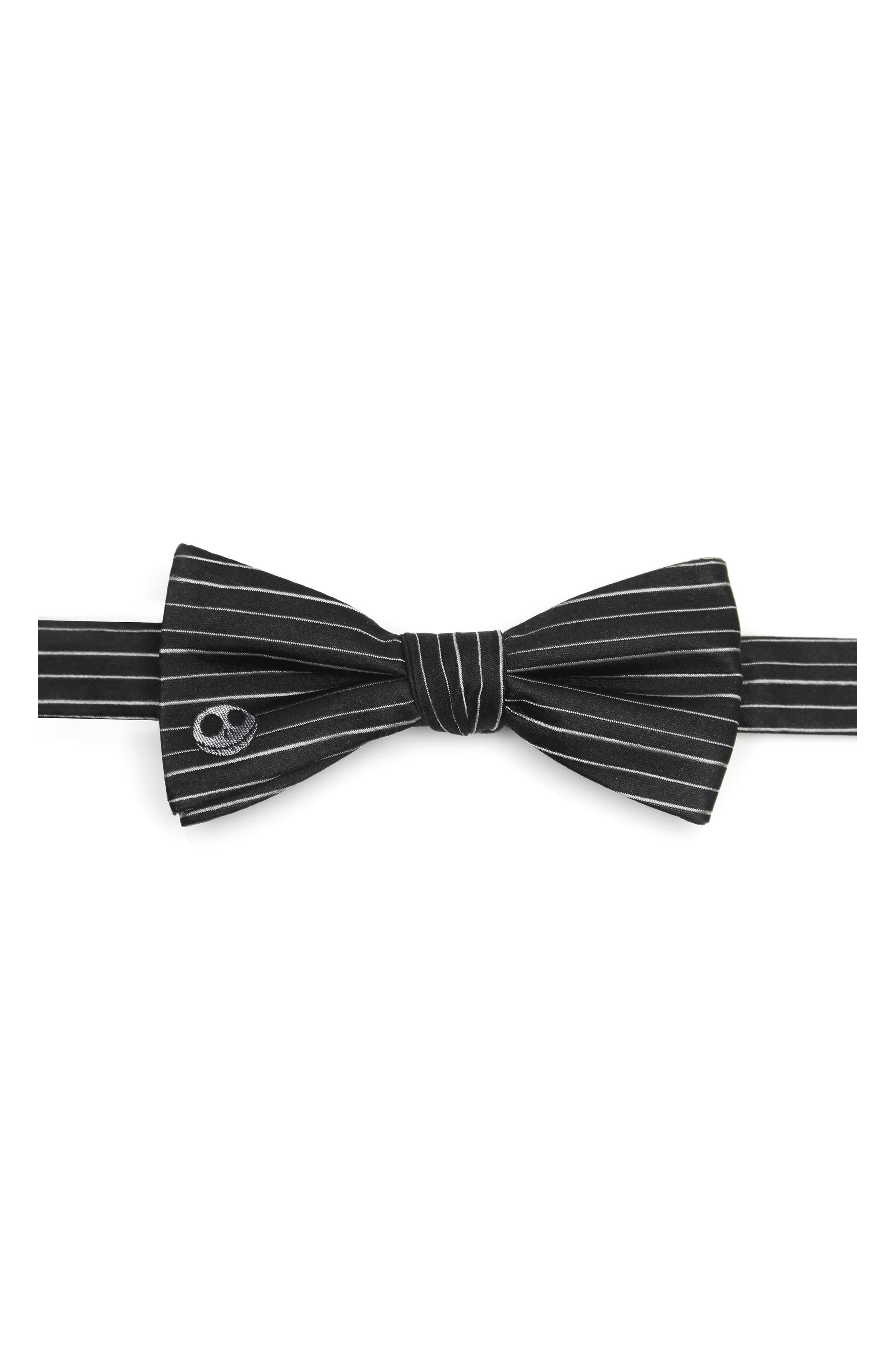 Jaunty white stripes and grinning Jack Skellington embroidery give this dapper silk bow tie a playful \\\'Nightmare Before Christmas\\\' twist. Style Name: Cufflinks, Inc. Nightmare Before Christmas Silk Bow Tie. Style Number: 5756912. Available in stores.