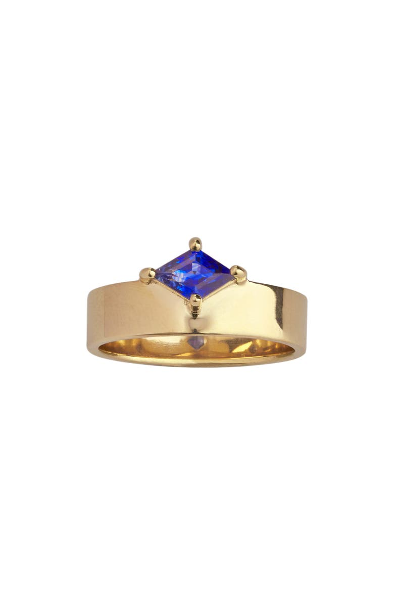 WWAKE Monolith Sapphire Ring, Main, color, YELLOW GOLD/ BLUE SAPPHIRE