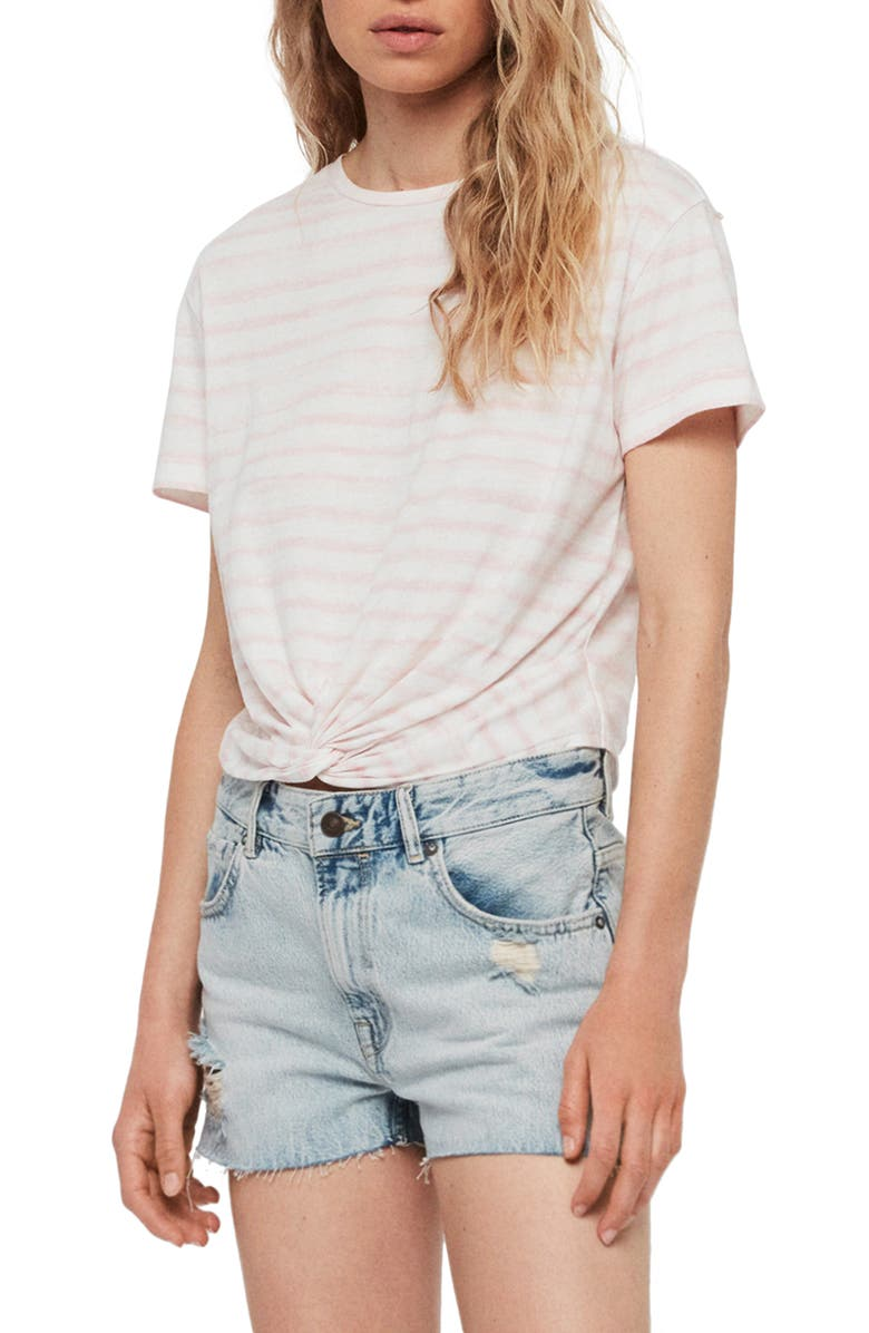 ALLSAINTS Painted Carme Tee, Main, color, PINK/ CHALK WHITE