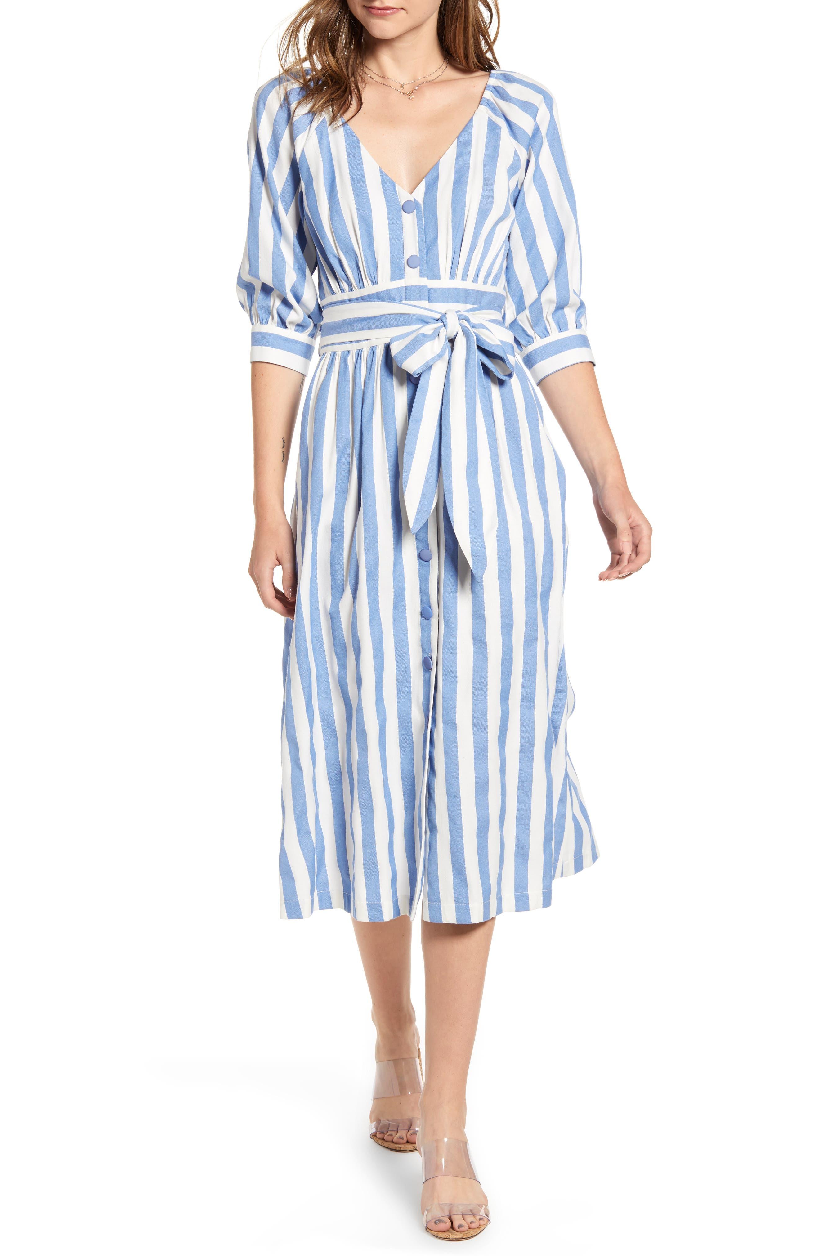 Moon River Stripe Button-Up Midi Dress, Blue