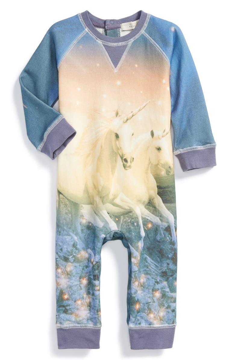 STELLA MCCARTNEY KIDS Unicorn Print Organic Cotton Romper, Main, color, 453