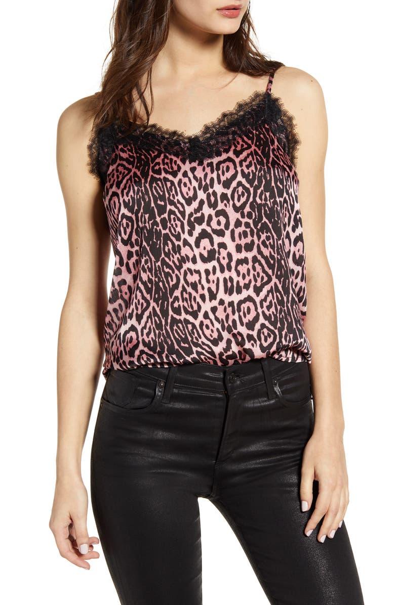 Endless Rose Lace Trim Leopard Camisole Top