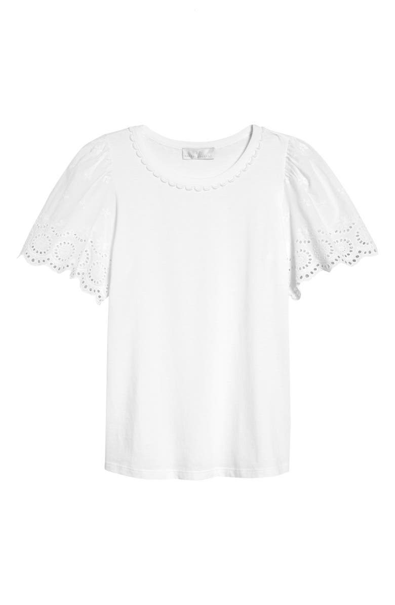 RACHEL PARCELL Eyelet Flutter Sleeve T-Shirt, Main, color, 100