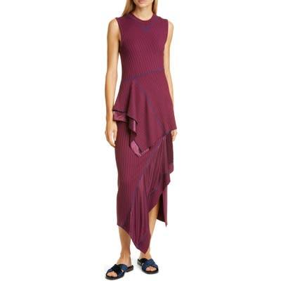 Sies Marjan Asymmetrical Peplum Rib Midi Dress, Burgundy