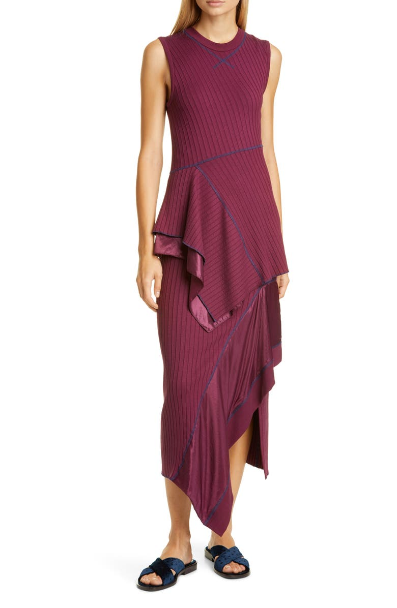 SIES MARJAN Asymmetrical Peplum Rib Midi Dress, Main, color, 930