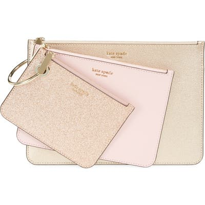 Kate Spade New York 3-Pack Metallic Leather Pouches - Pink