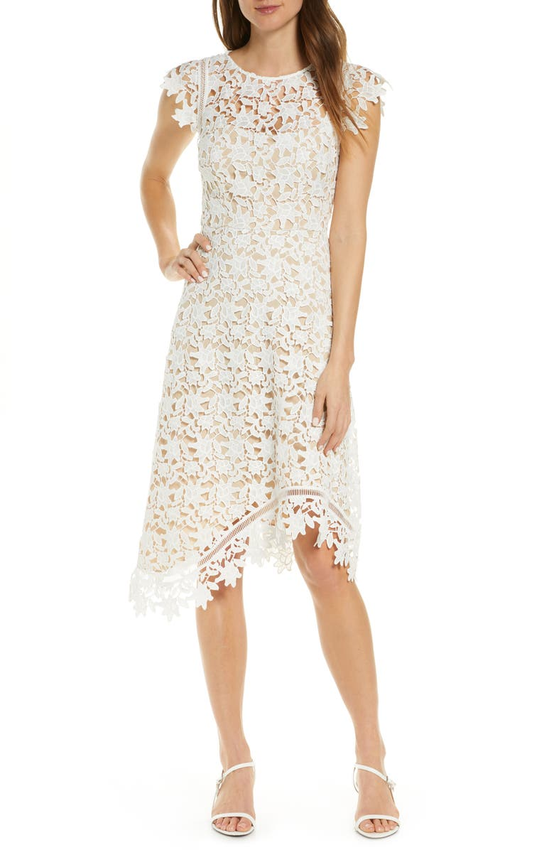 ELIZA J Asymmetrical Lace Fit & Flare Dress, Main, color, IVORY