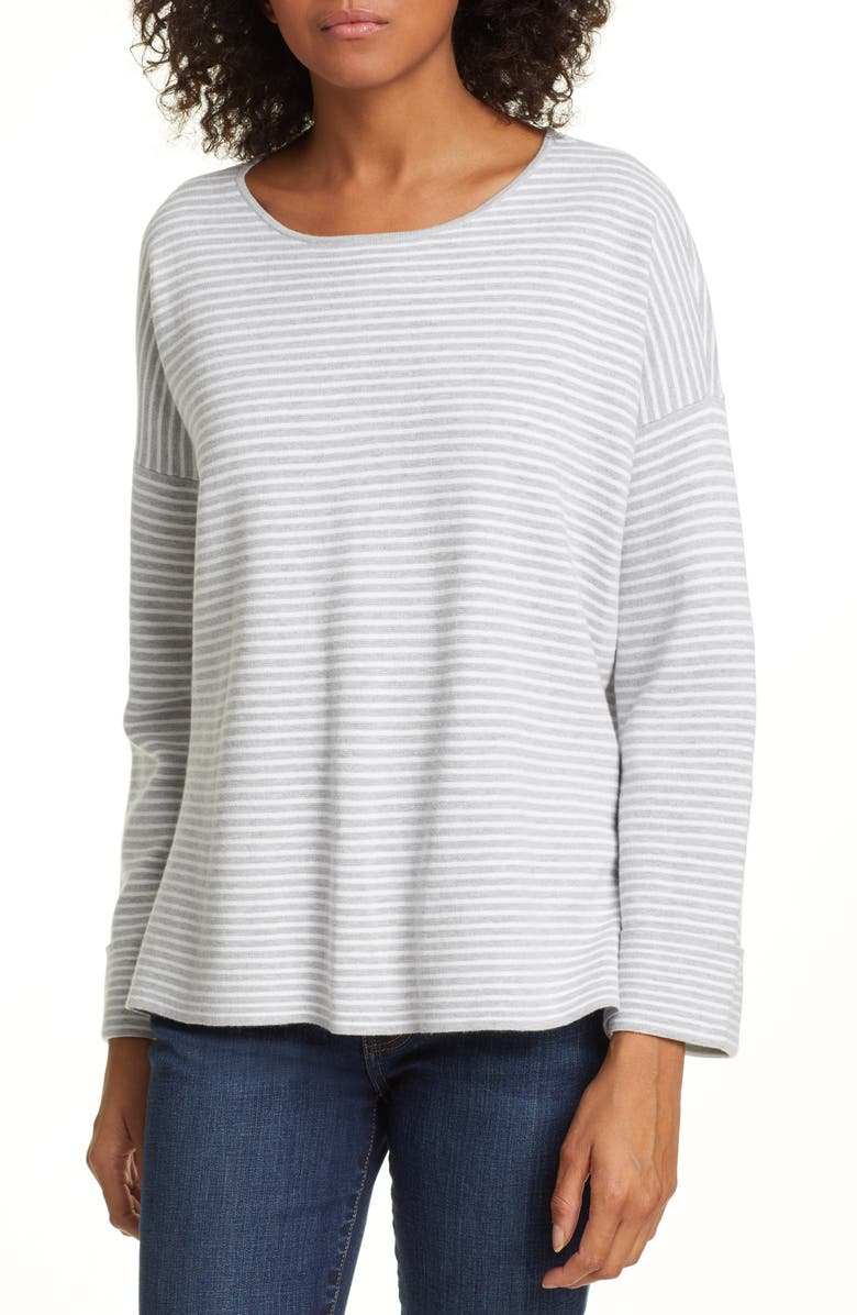 EILEEN FISHER Round Neck Boxy Top, Main, color, 020