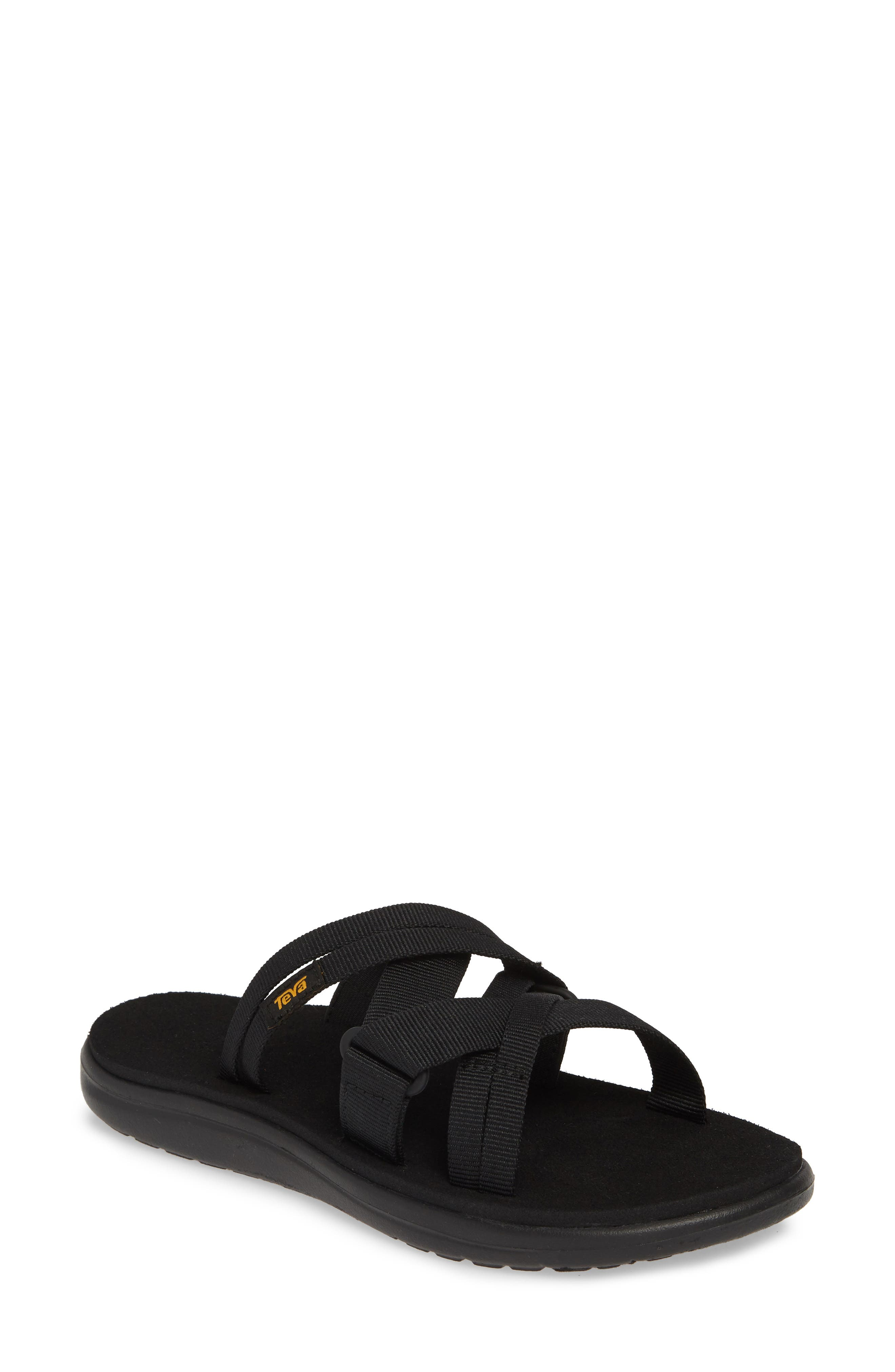,                             Voya Infinity Water Friendly Slide Sandal,                             Main thumbnail 1, color,                             BLACK FABRIC
