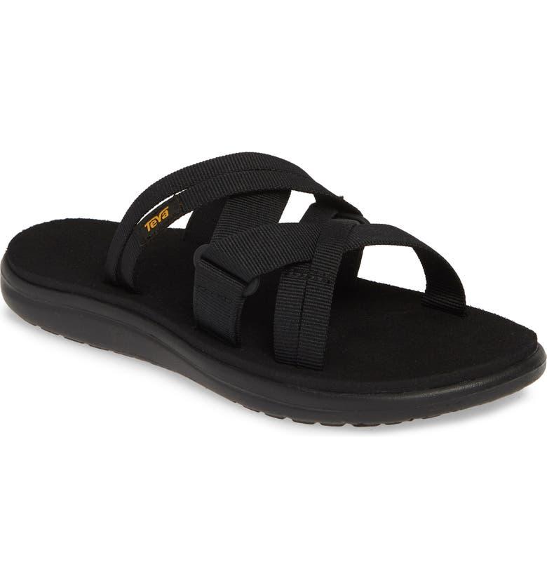 TEVA Voya Water Friendly Slide Sandal, Main, color, BLACK FABRIC