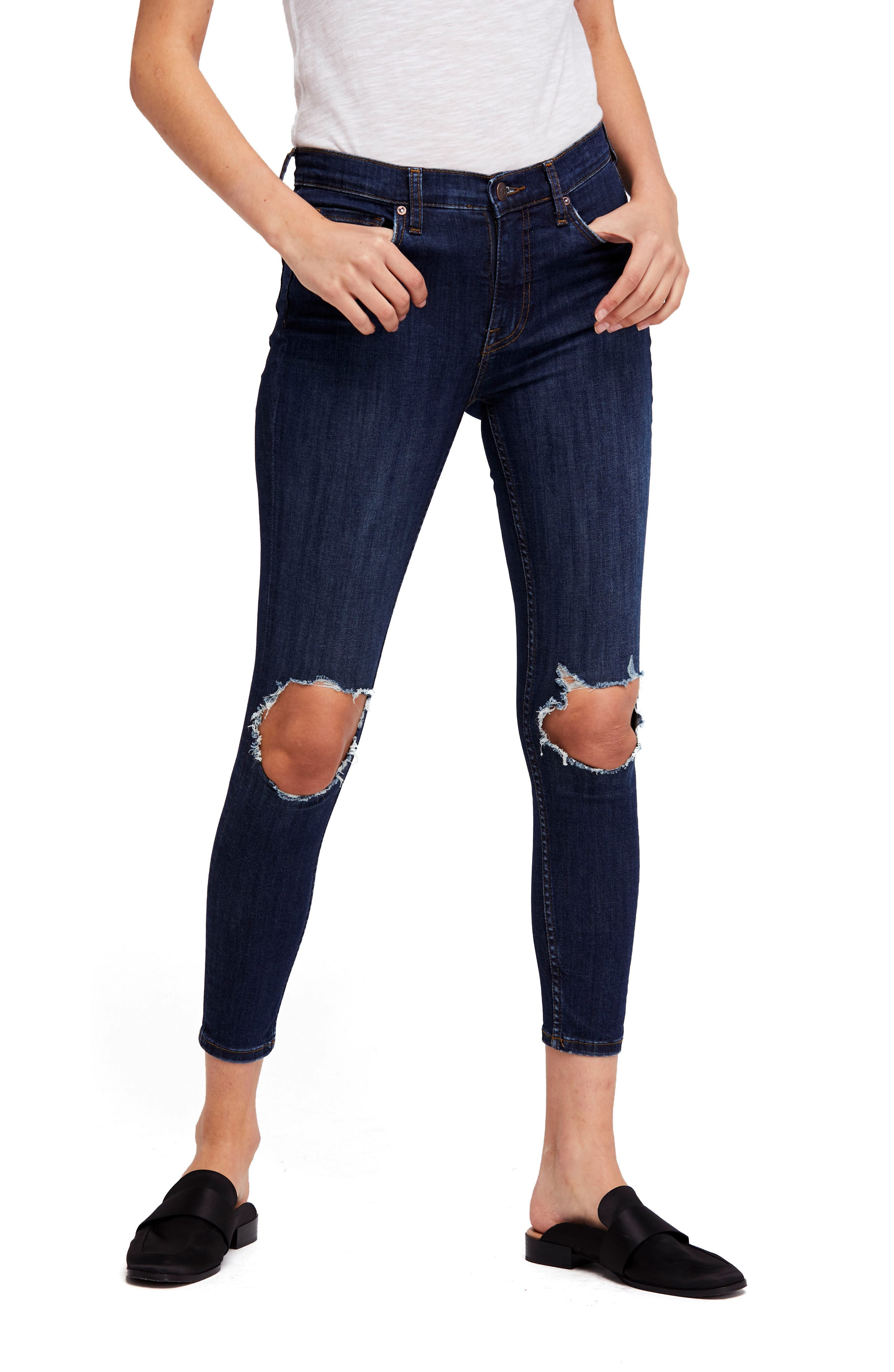 ,                             We the Free by Free People High Waist Ankle Skinny Jeans,                             Main thumbnail 1, color,                             DARK BLUE