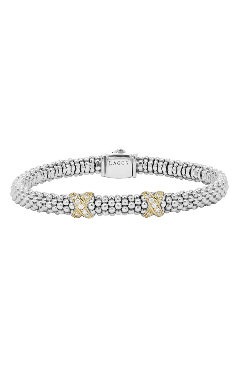 LAGOS 'Signature Caviar' Diamond Rope Bracelet, Main, color, SILVER/GOLD