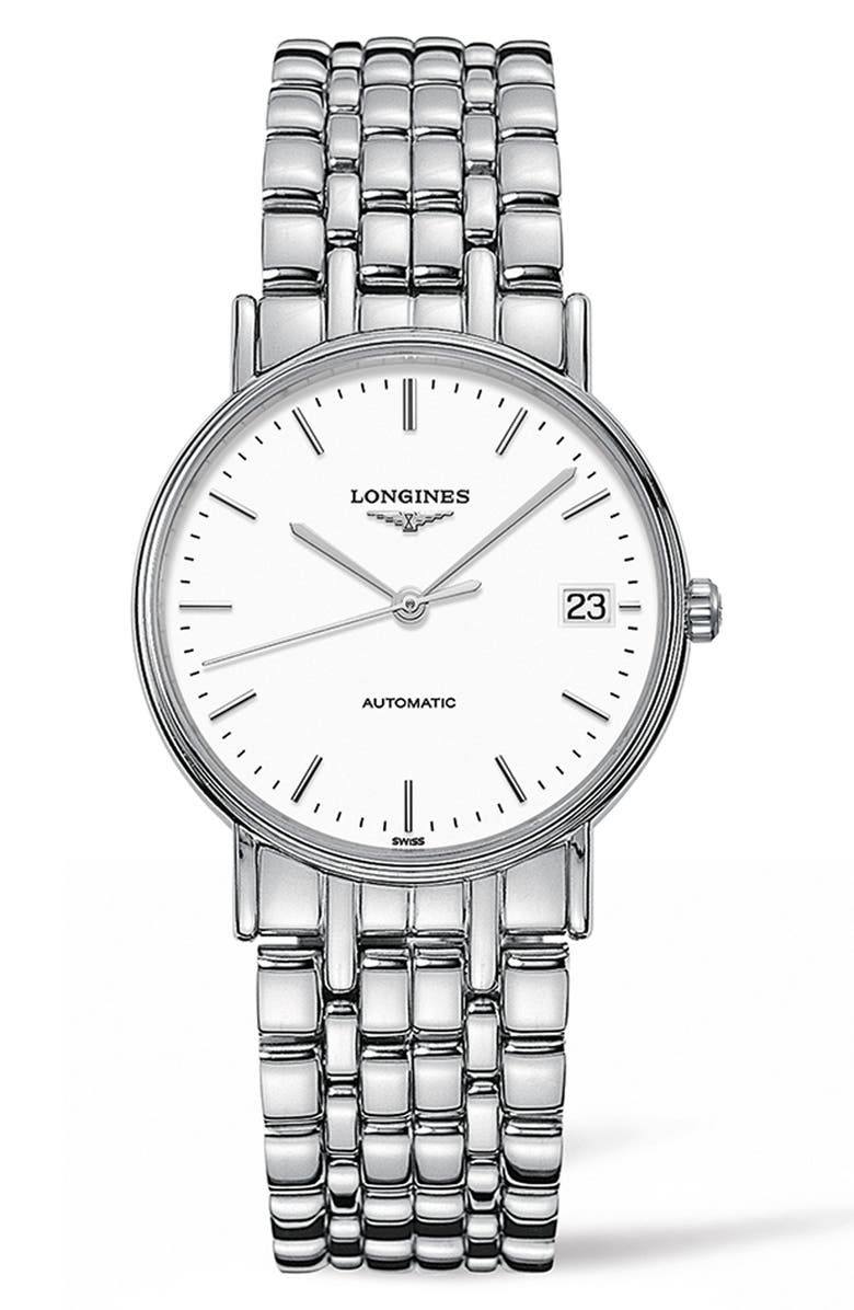 LONGINES Présence Automatic Bracelet Watch, 34.5mm, Main, color, SILVER/ WHITE/ SILVER