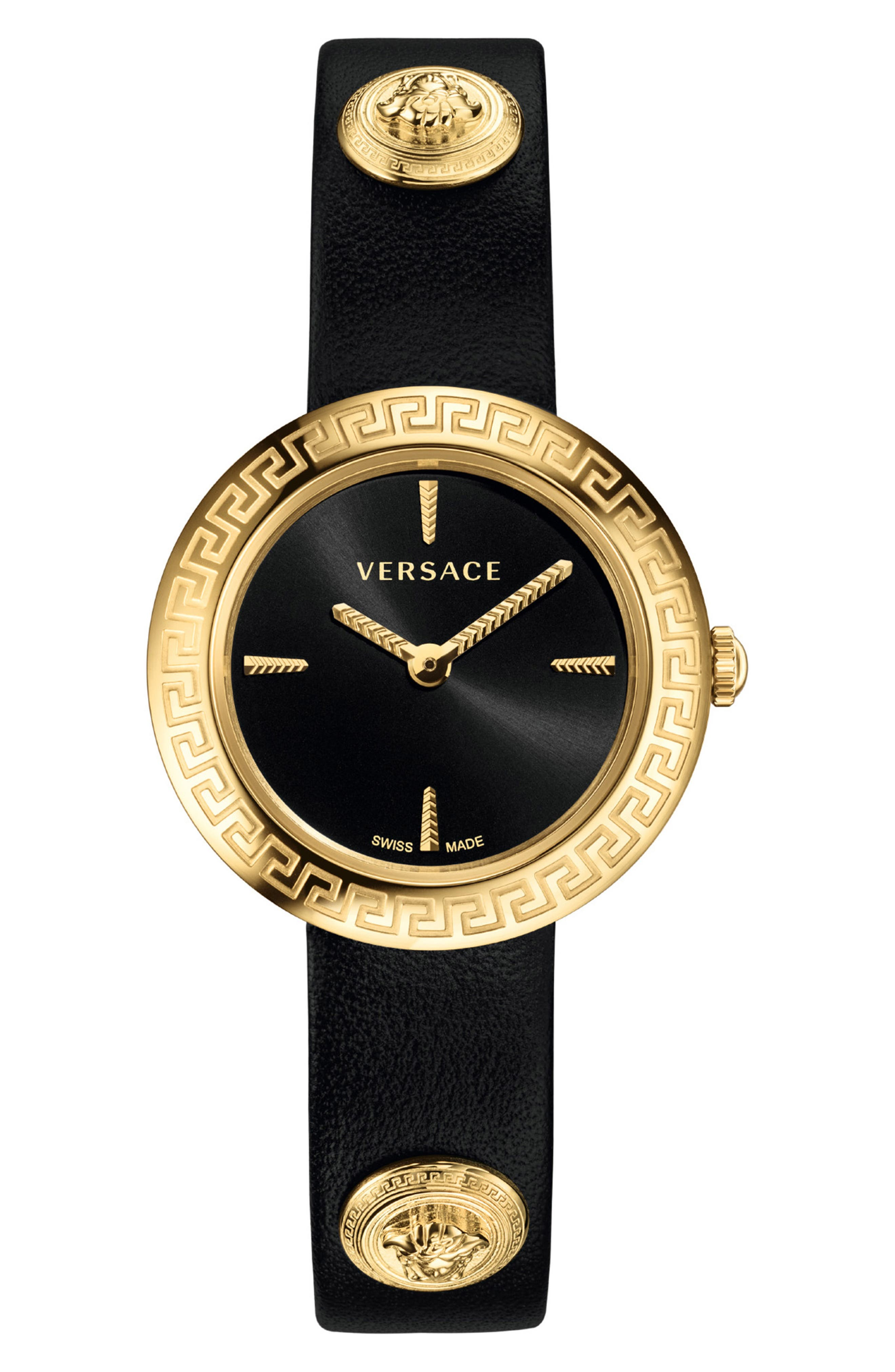 ,                             Medusa Stud Icon Leather Strap Watch, 28mm,                             Alternate thumbnail 2, color,                             BLACK/ GOLD