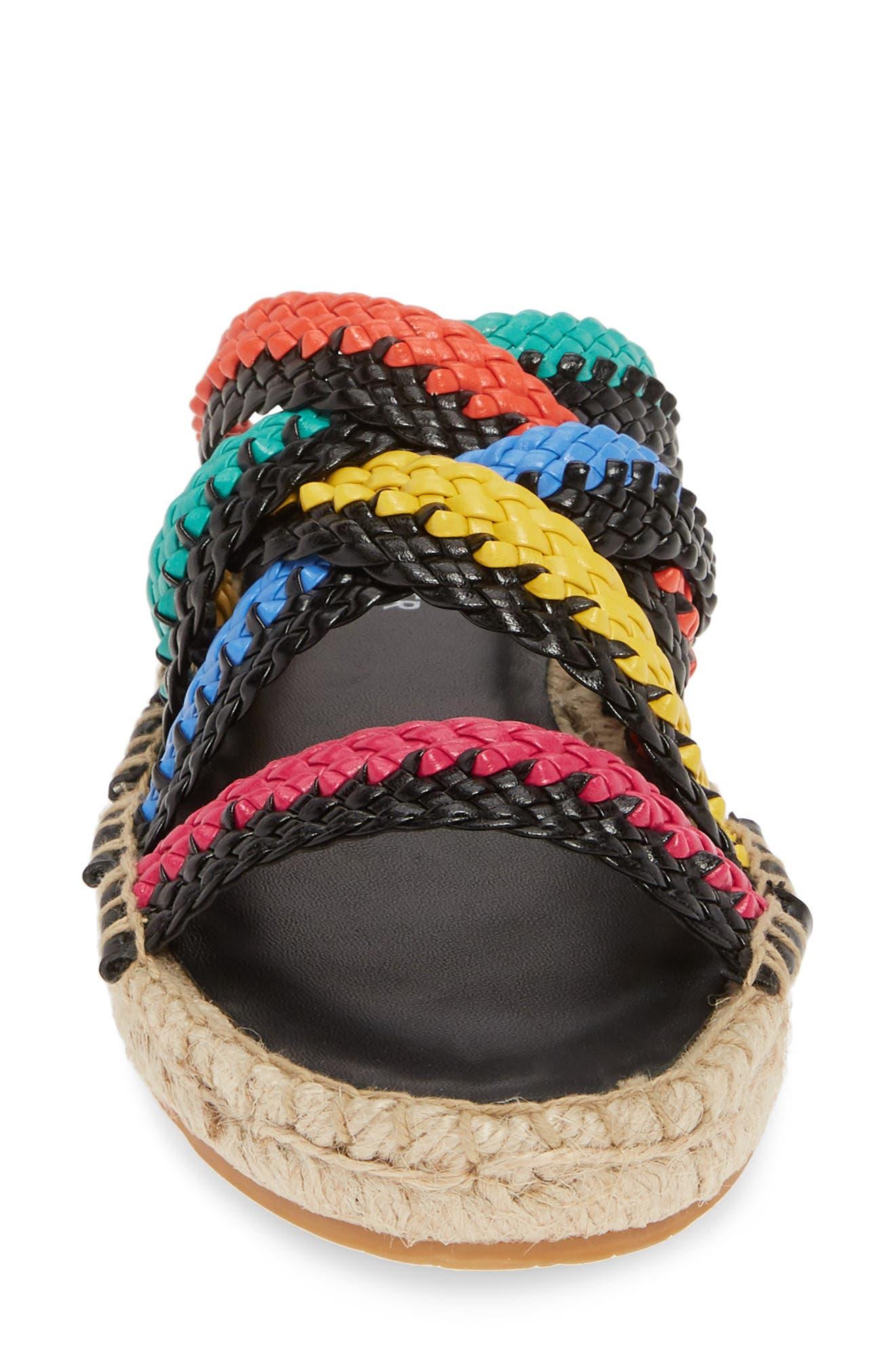 ,                             Rhonda Woven Espadrille Slide Sandal,                             Alternate thumbnail 4, color,                             BLACK MULTI LEATHER