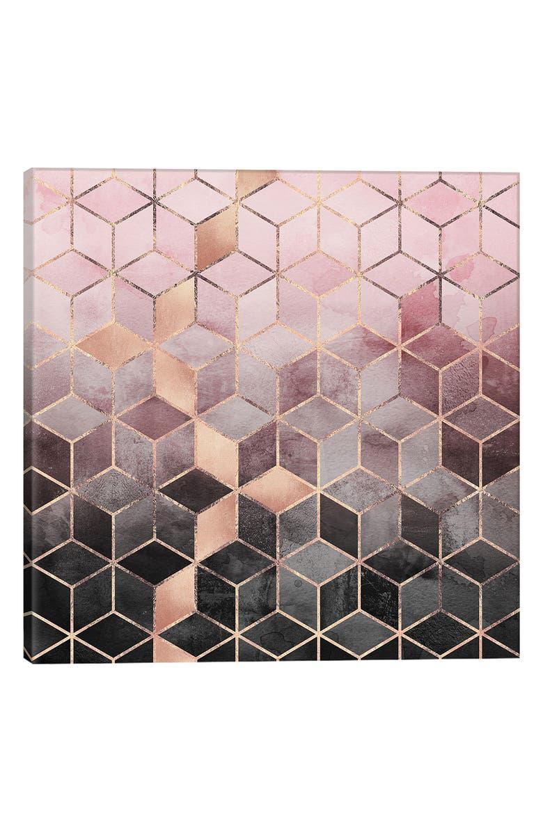 ICANVAS Pink & Grey Cubes Giclée Print Canvas Art, Main, color, BEIGE