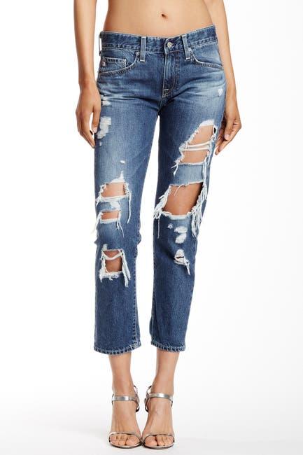 Image of AG Ex-Boyfriend Distressed Slim Crop Jeans