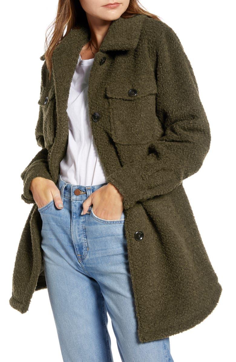 SOMETHING NAVY Berber Faux Fur Shirt Jacket, Main, color, OLIVE SARMA