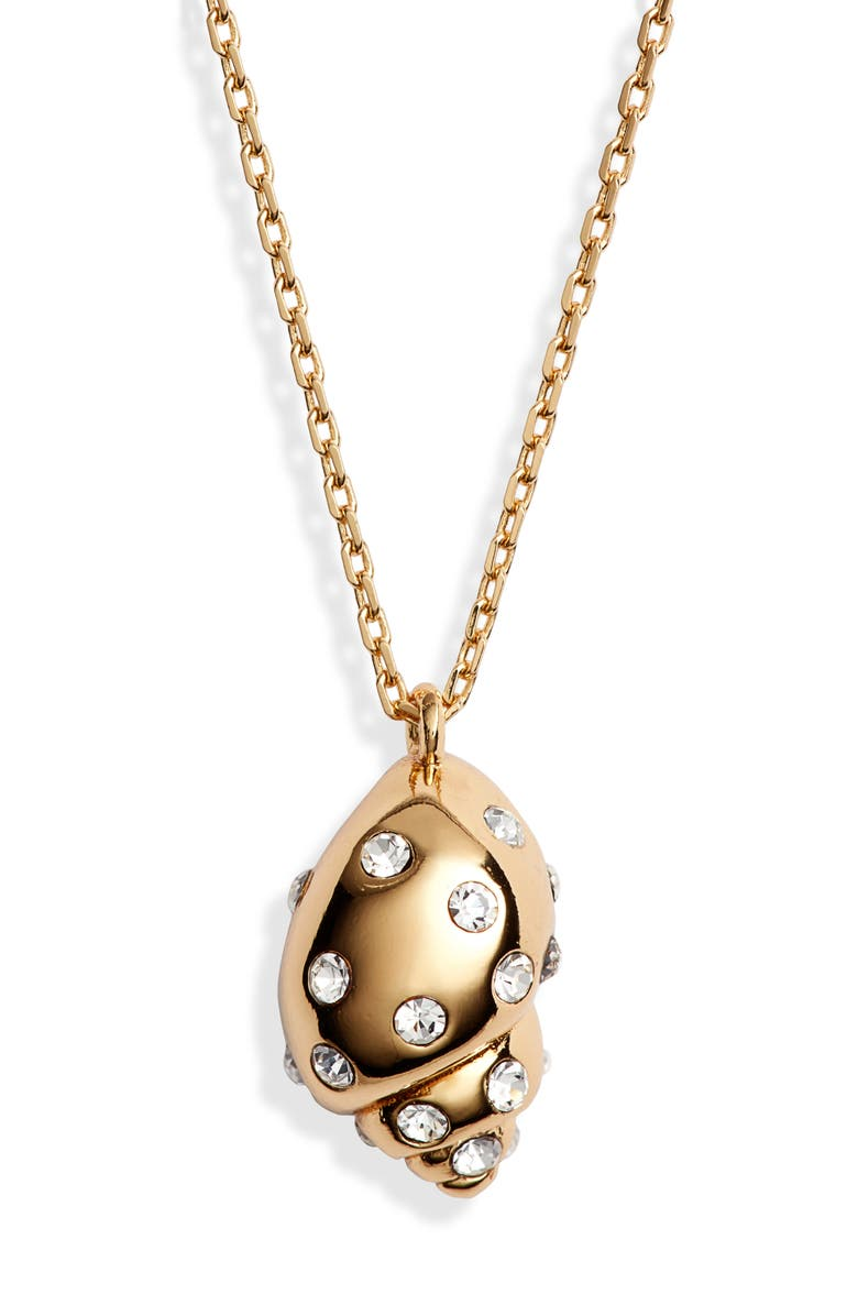 KATE SPADE NEW YORK under the sea studded shell pendant necklace, Main, color, 121