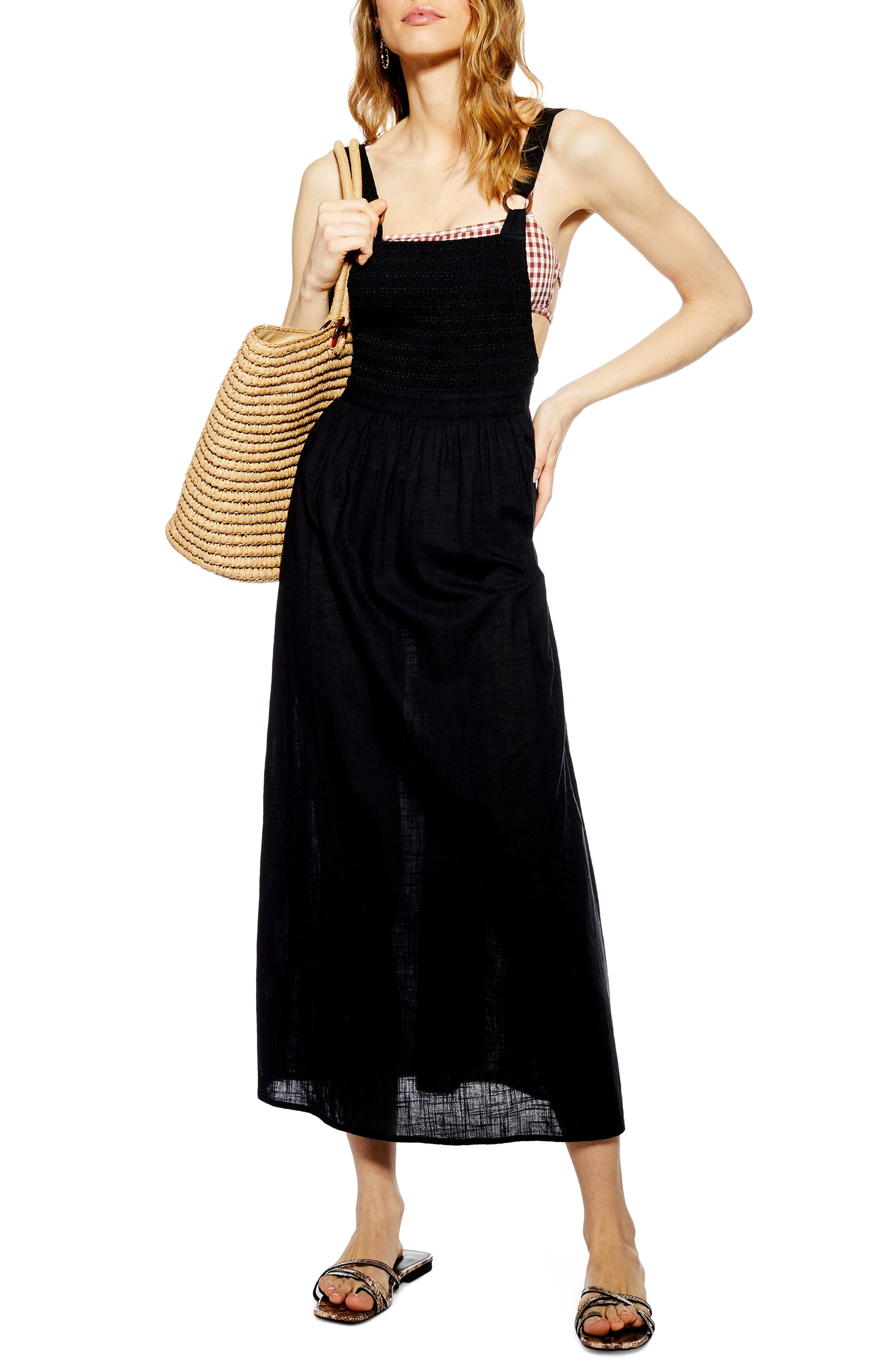 Tosphop Shirred Bodice Cover-Up Maxi Dress, Black
