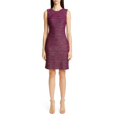 St. John Collection Ombre Ribbon Tweed Knit Dress, Pink