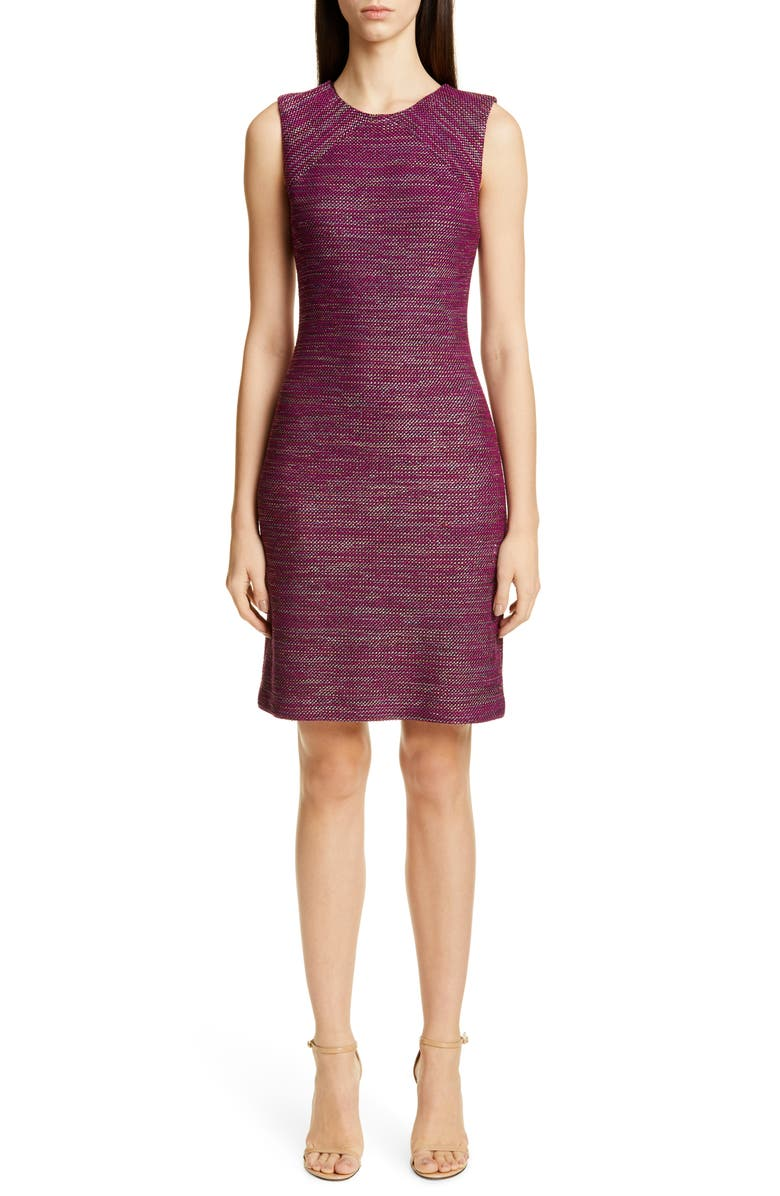 ST. JOHN COLLECTION Ombré Ribbon Tweed Knit Dress, Main, color, RIPE BERRY MULTI