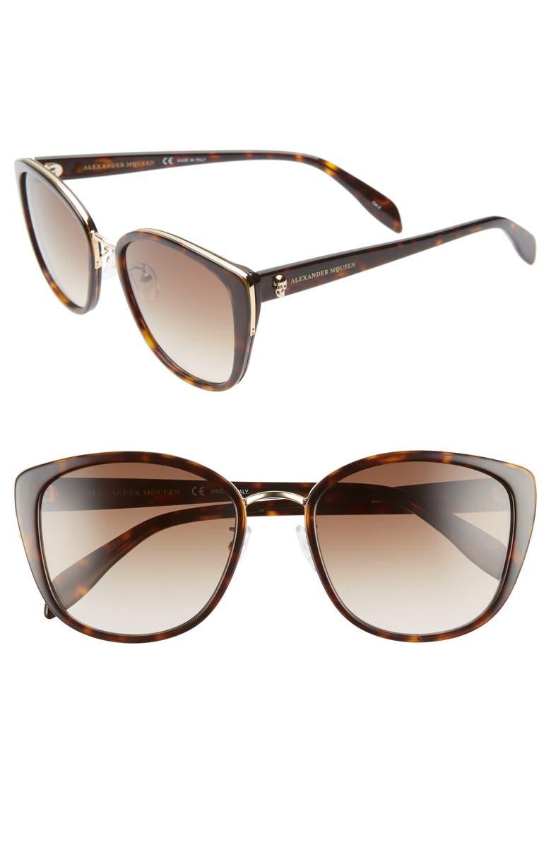 ALEXANDER MCQUEEN 56mm Gradient Round Sunglasses, Main, color, BLACK HAVANA/ GOLD