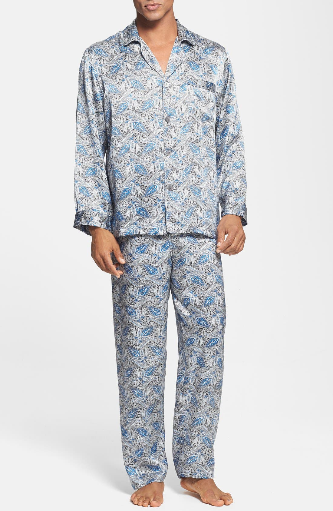 1940s Men's Underwear: Briefs, Boxers, Unions, & Socks Mens Majestic International Cypress Silk Pajamas Size XX-Large - Blue $325.00 AT vintagedancer.com