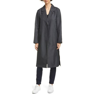 Eileen Fisher Belted Cotton Blend Trench Coat, Black