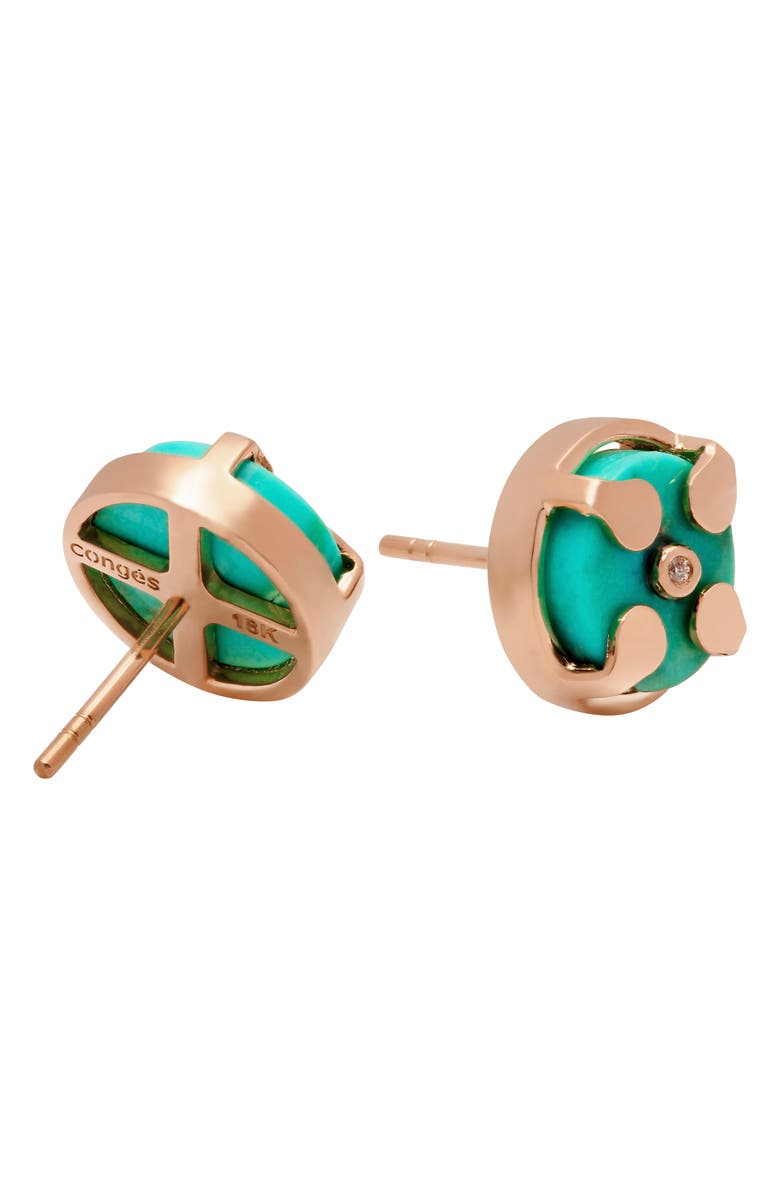 CONGÉS Truth & Balance Turquoise Stud Earrings, Main, color, ROSE GOLD