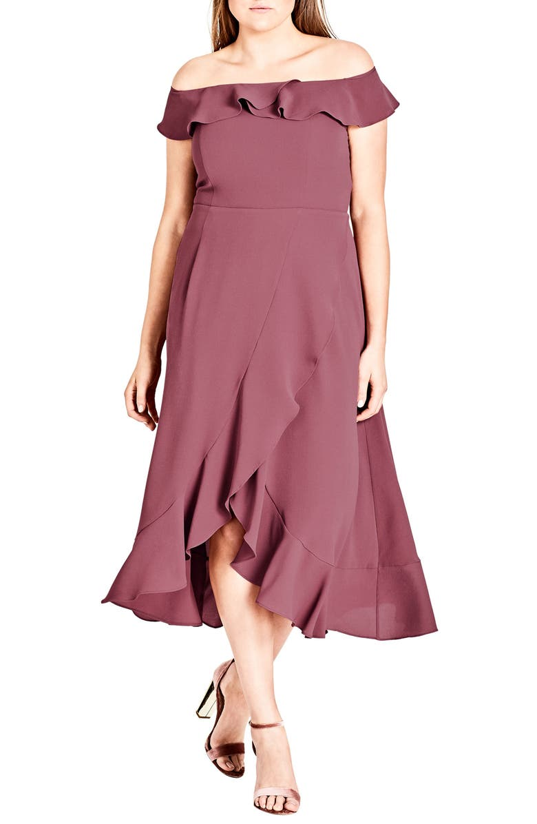 CITY CHIC Off the Shoulder Ruffle High/Low Dress, Main, color, 602