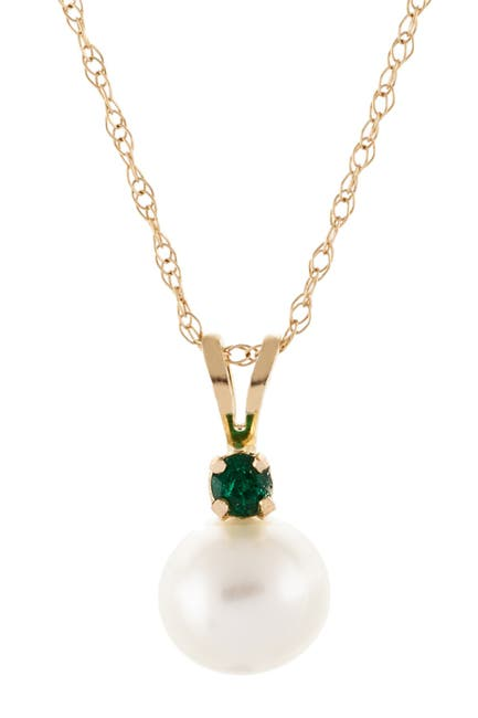 Image of Splendid Pearls 14K Yellow Gold Emerald & 7-7.5mm Cultured Freshwater Pearl Pendant Necklace