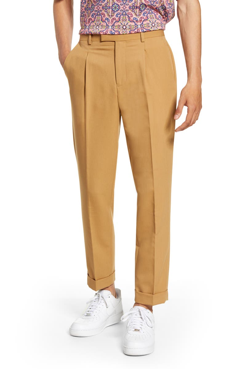 TOPMAN Bridge Skinny Fit Pleated Dress Pants, Main, color, BEIGE