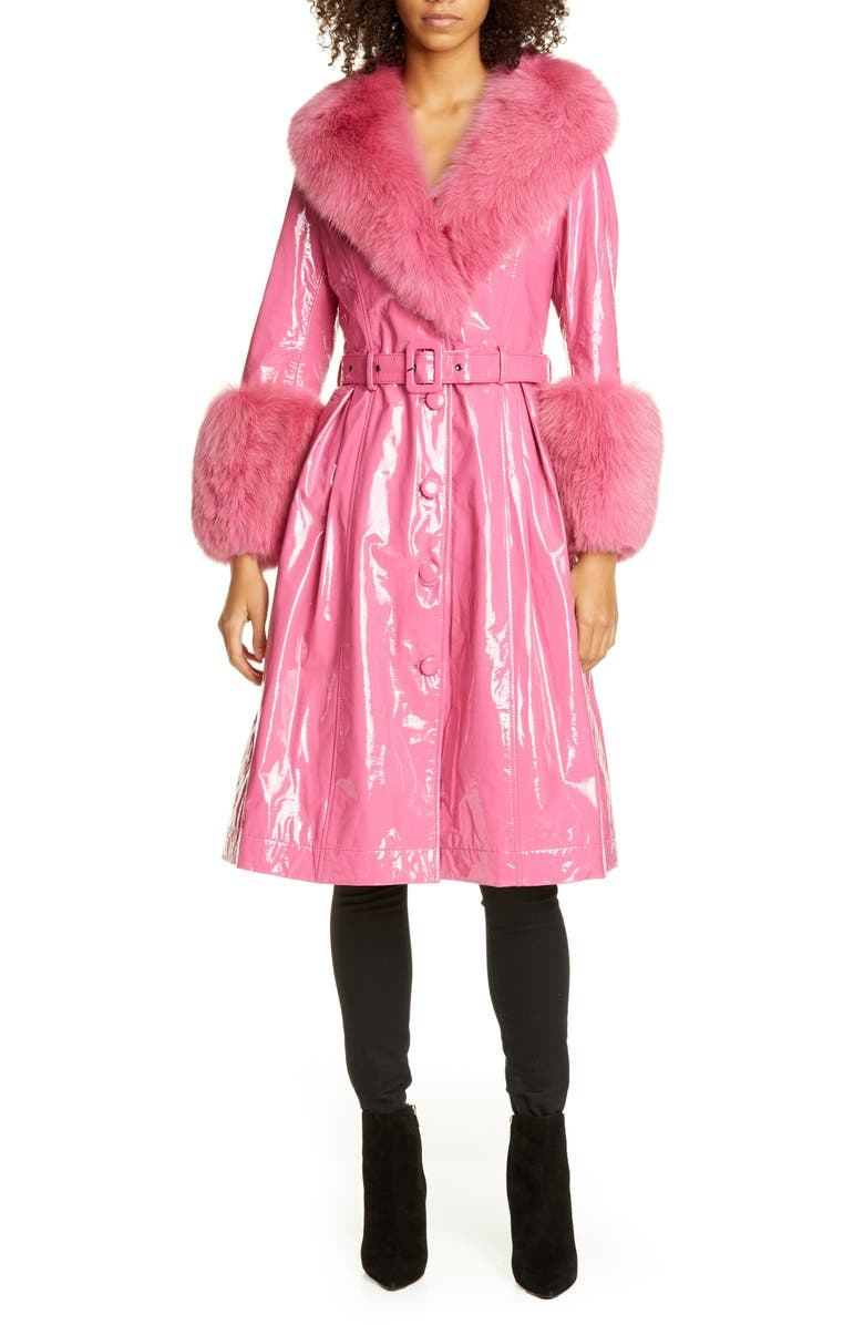 SAKS POTTS Patent Leather Coat with Genuine Fox Fur Trim, Main, color, NEON PINK