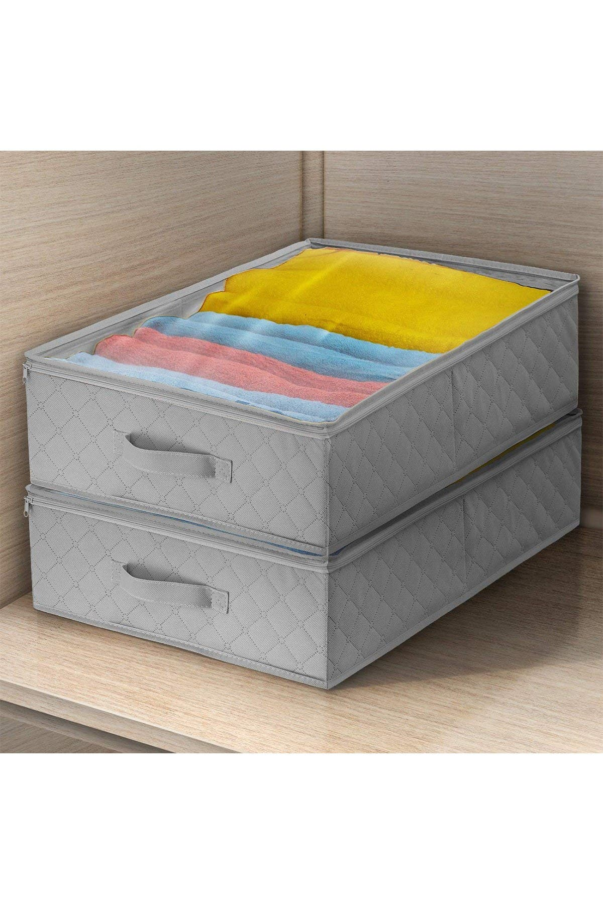 Image of Sorbus Gray Storage Bags Closet & Underbed Organizer - Set of 2