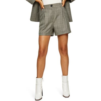 Topshop Check Pleat Shorts, US (fits like 10-12) - Green