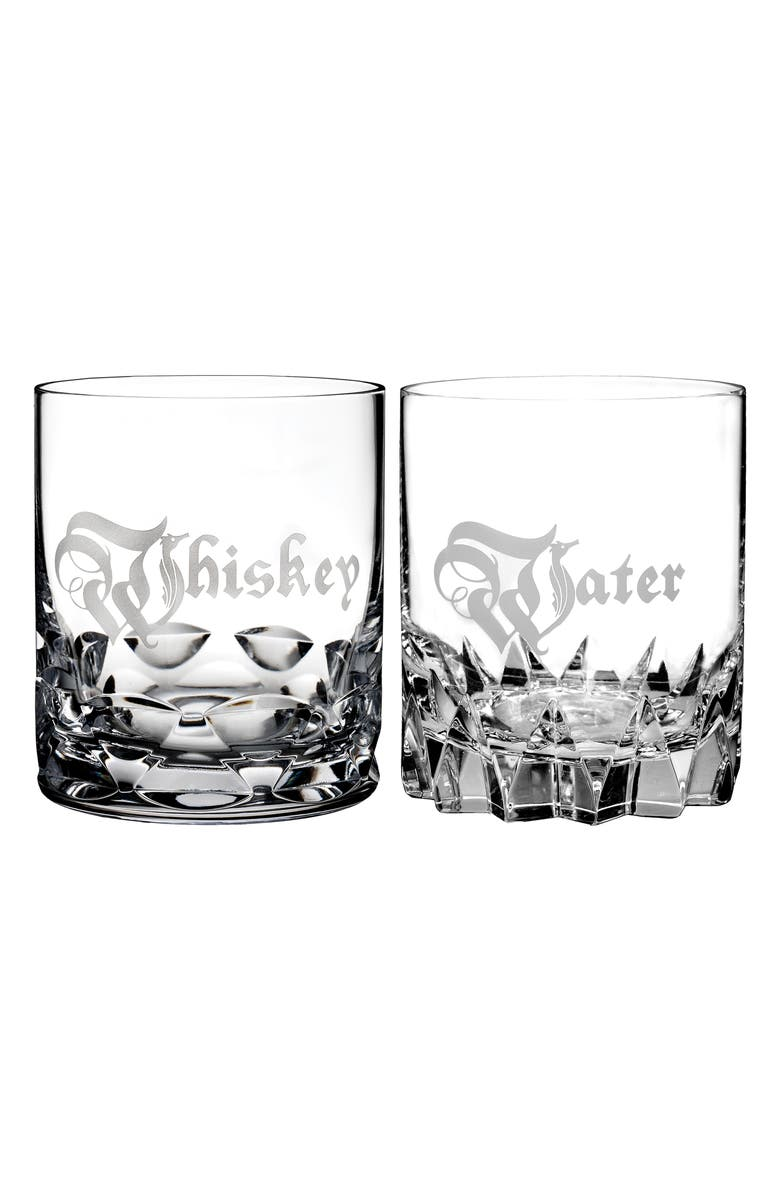 WATERFORD Short Stories Whiskey & Water Set of 2 Lead Crystal Double Old Fashioned Glasses, Main, color, 100