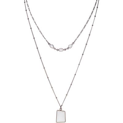 Adornia Layered Moonstone Pendant Necklace