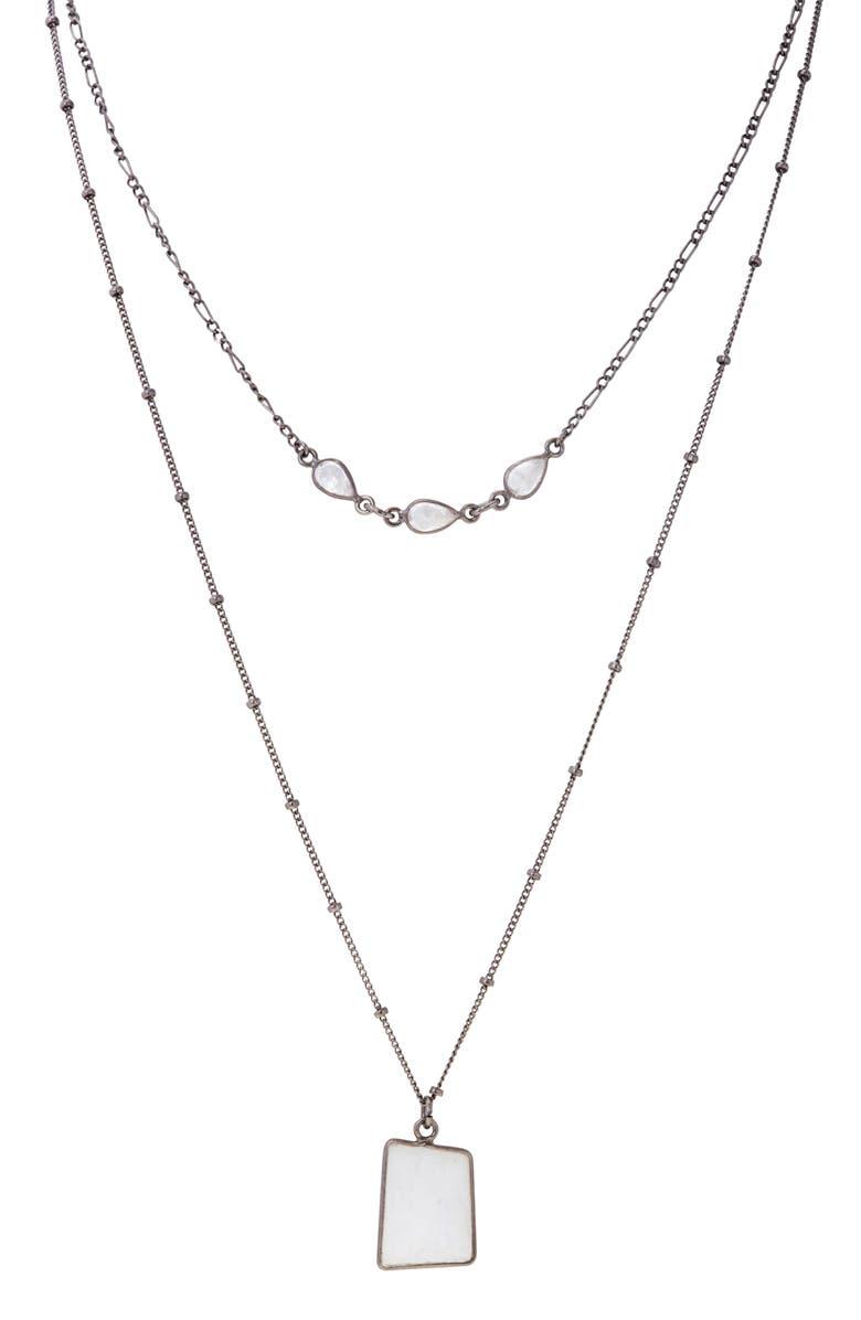 ADORNIA Layered Moonstone Pendant Necklace, Main, color, BLACK RHODIUM