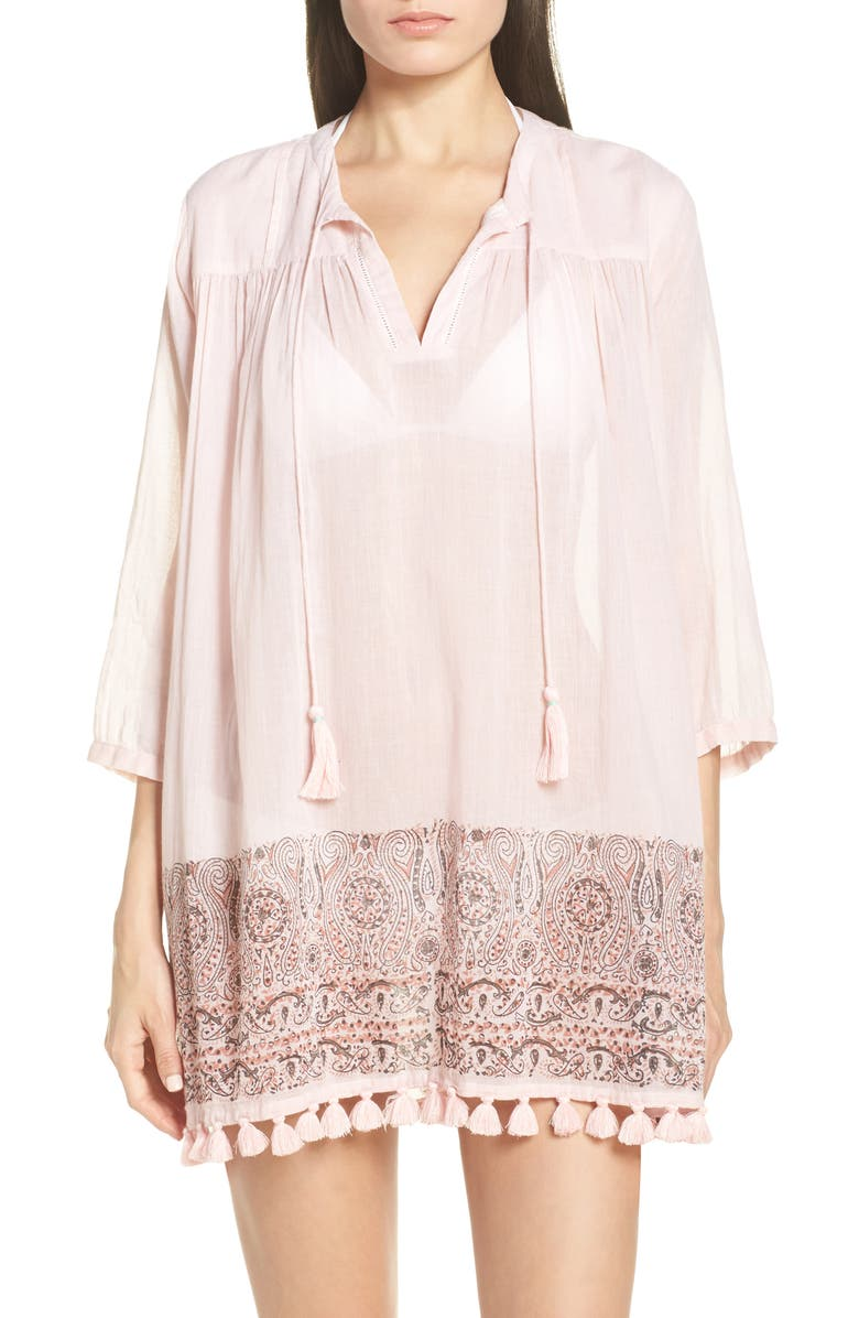 ROLLER RABBIT Serafina Cotton Cover-Up Tunic, Main, color, PINK