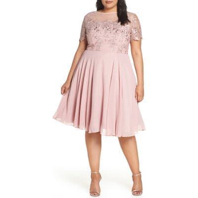 Plus Size Chi Chi London Embroidered Fit & Flare Cocktail Dress