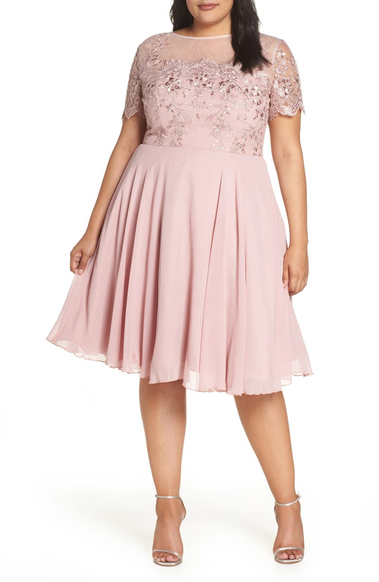 CHI CHI LONDON Embroidered Fit & Flare Cocktail Dress, Main, color, 666