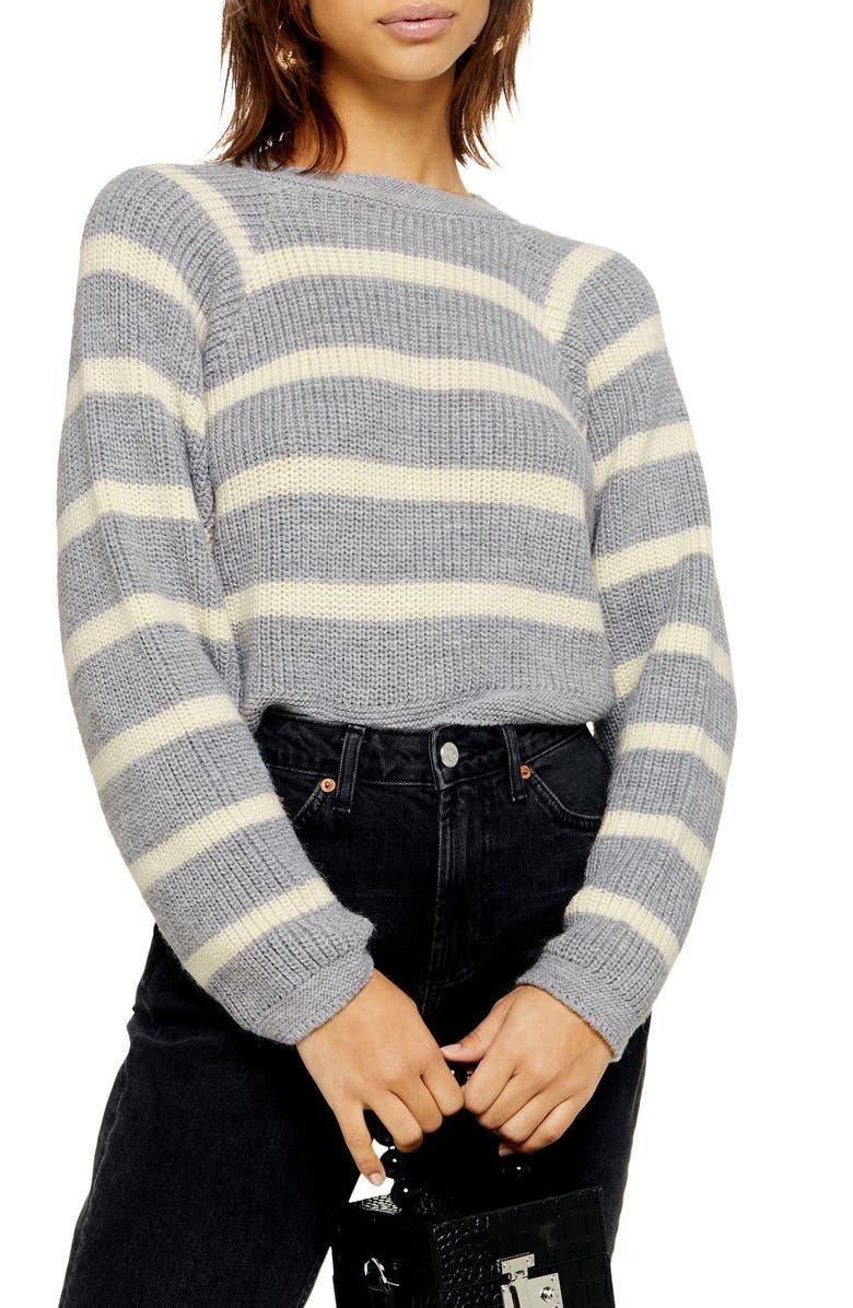 TOPSHOP Stripe Crop Sweater, Main, color, GREY MULTI