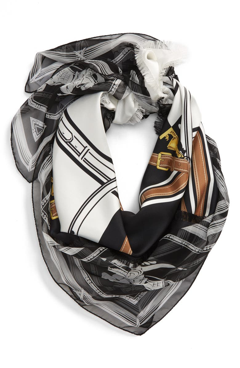 BURBERRY Two Lovers Arc Belt Border Print Silk Square Scarf, Main, color, BLACK / WHITE
