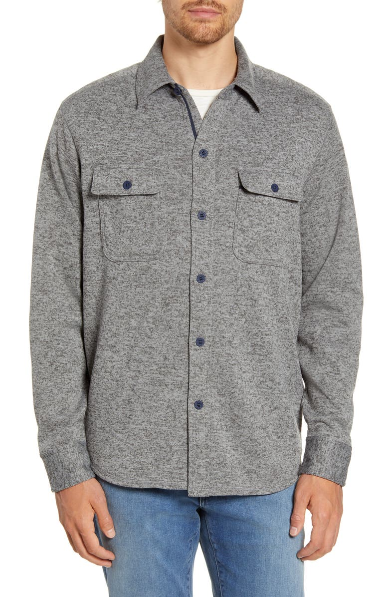 SOUTHERN TIDE Benjies Regular Fit Button-Up Shirt Jacket, Main, color, POLARIZED GREY