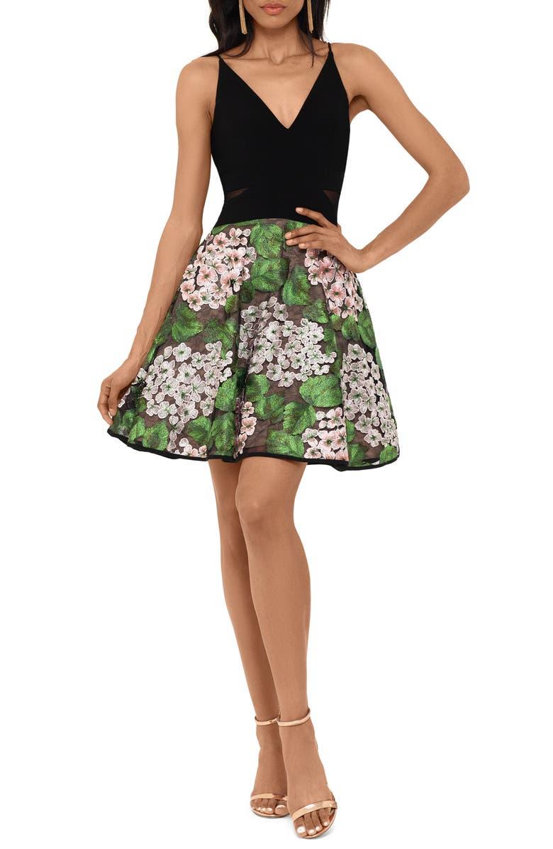 XSCAPE Mixed Media Party Dress, Main, color, BLACK/ GREEN