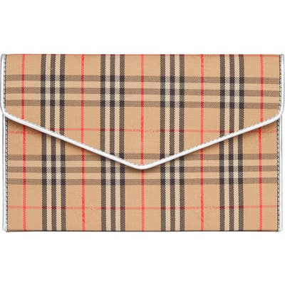 Burberry 1983 Check Cotton & Leather Envelope Clutch - Brown