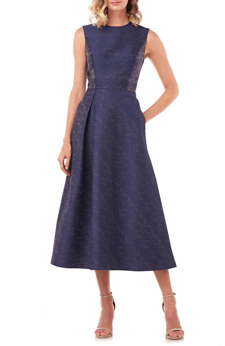 KAY UNGER Belinda Fit & Flare Dress, Main, color, MIDNIGHT