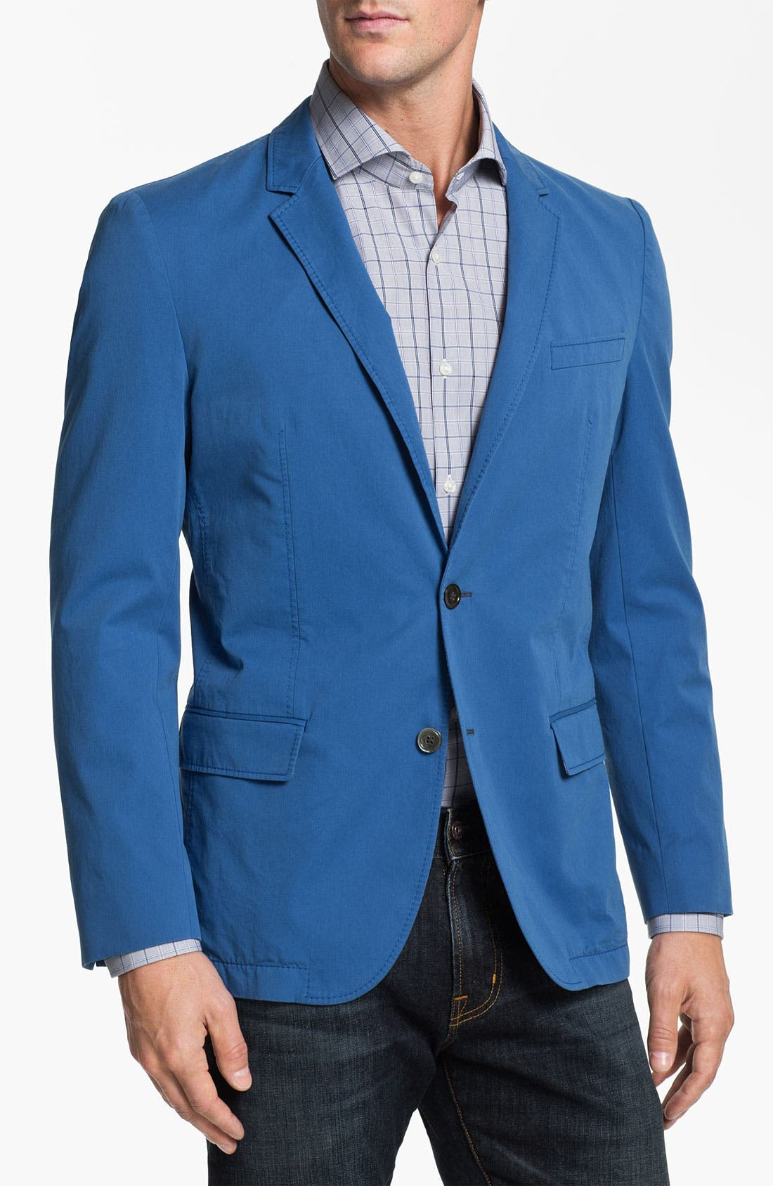 ,                             BOSS HUGO BOSS 'Heaven' Trim Fit Cotton Blazer,                             Alternate thumbnail 4, color,                             440