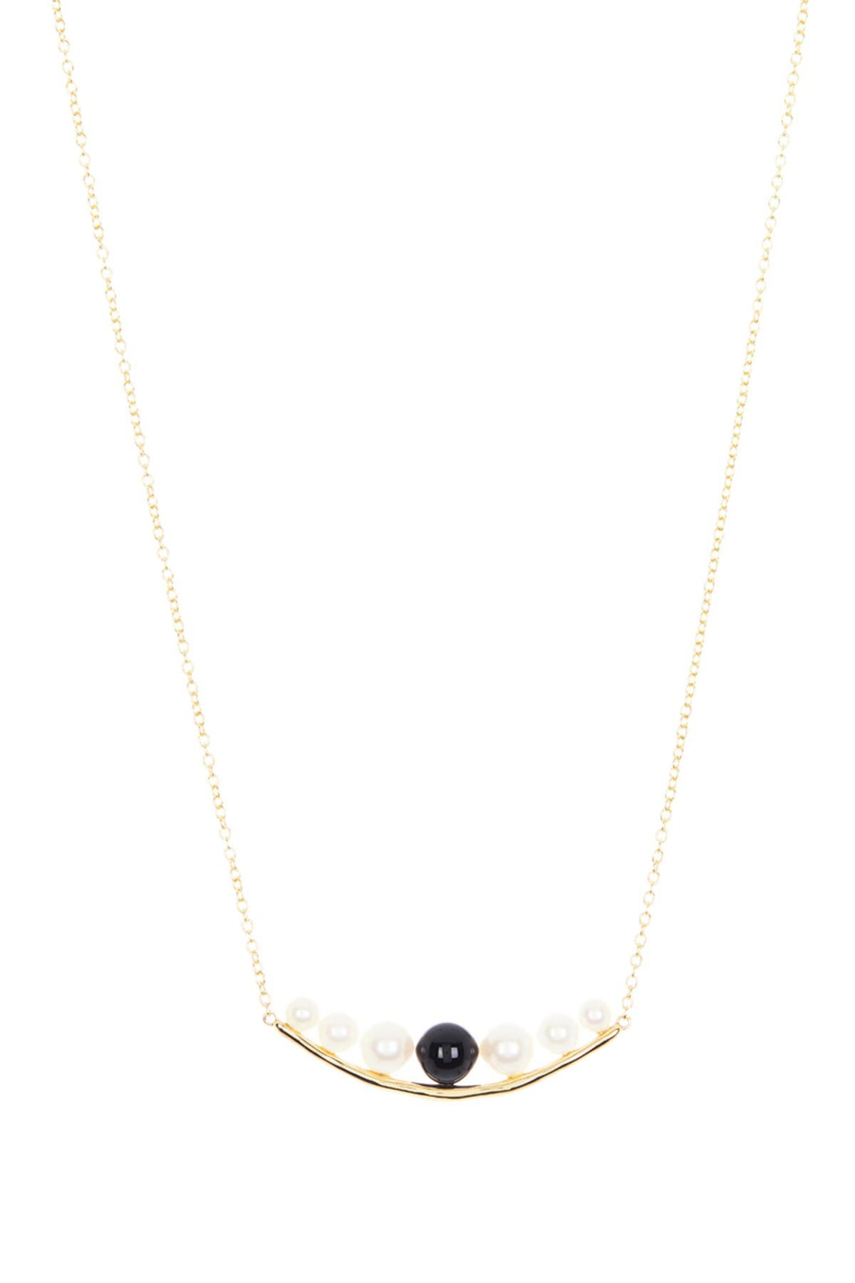 Image of Ippolita Prisma Onyx Stone Bead & 4.0-7.5mm Cultured Freshwater Pearl Curved Bar Necklace